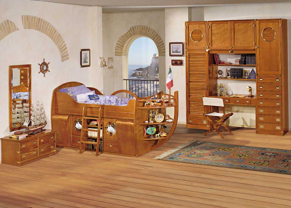 small beach themed shared attic room with weathered wood ...