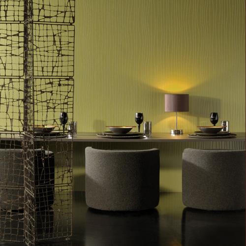 Green Textured Wallpaper Design in Dining Room