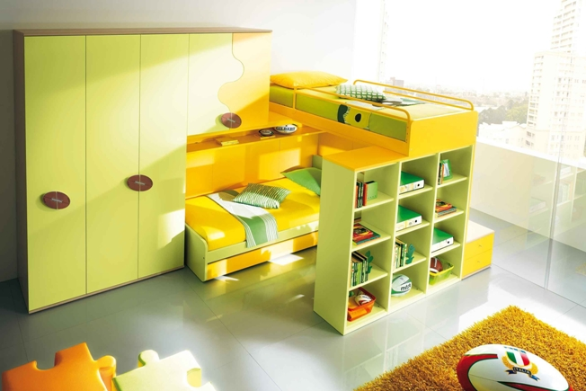 Green and Yellow Bunk Beds for Two Kids with Bookshelv