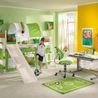 Green and Yellow Kids Room with Play Bed and Mini Soccer Field