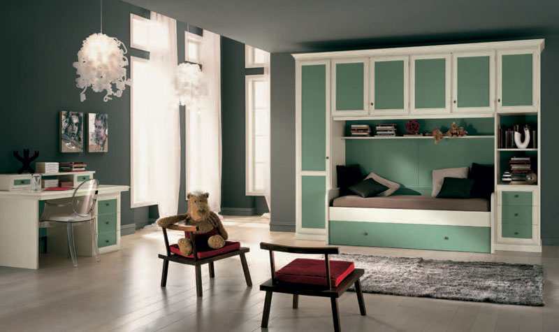 Grey Classic Girls Room with Green Furniture Design