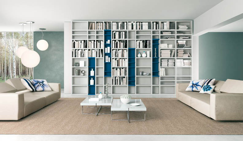 Grey and blue book shelves living room interior design ideas - Grey and blue living room ...