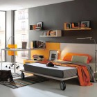 Grey and Orange Modern Teen Bedroom Color