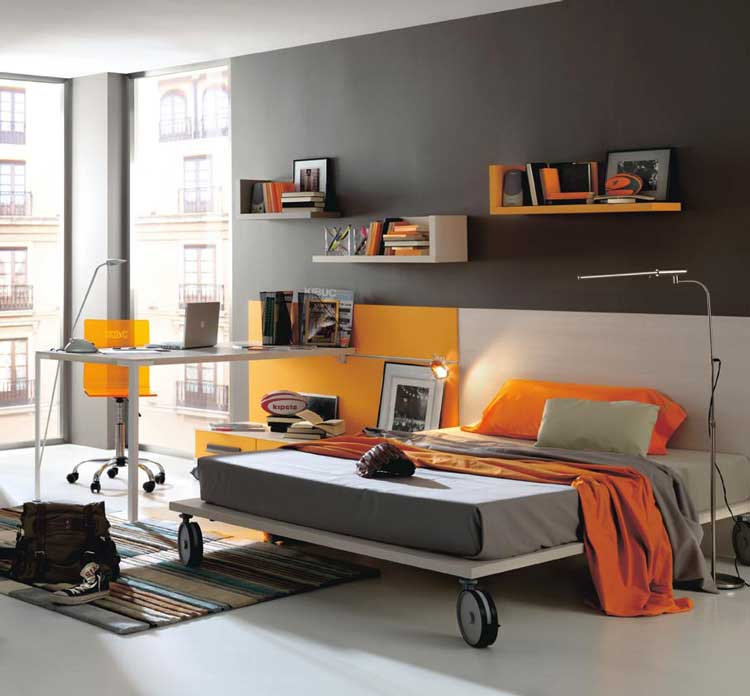 Grey And Orange Modern Teen Bedroom Color Interior