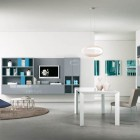 Grey and Turquoise Modern TV wall Mounted Shelves