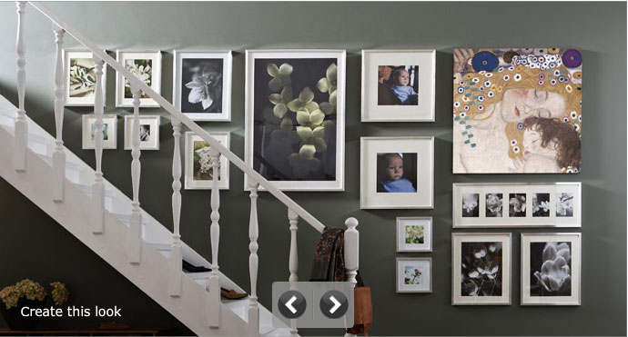 Hanging Photos in Grey Wall at the Side of Staircase - Interior ...