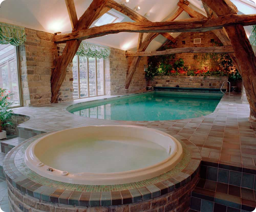 Indoor pools and jacuzi with block wall decor interior design ideas Indoor swimming pool pictures