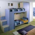 Light Blue Bunk Beds Furniture with Practical Storage System Hidden Understairs