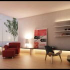 Living Room with Balcony View and Streamlined Shelves