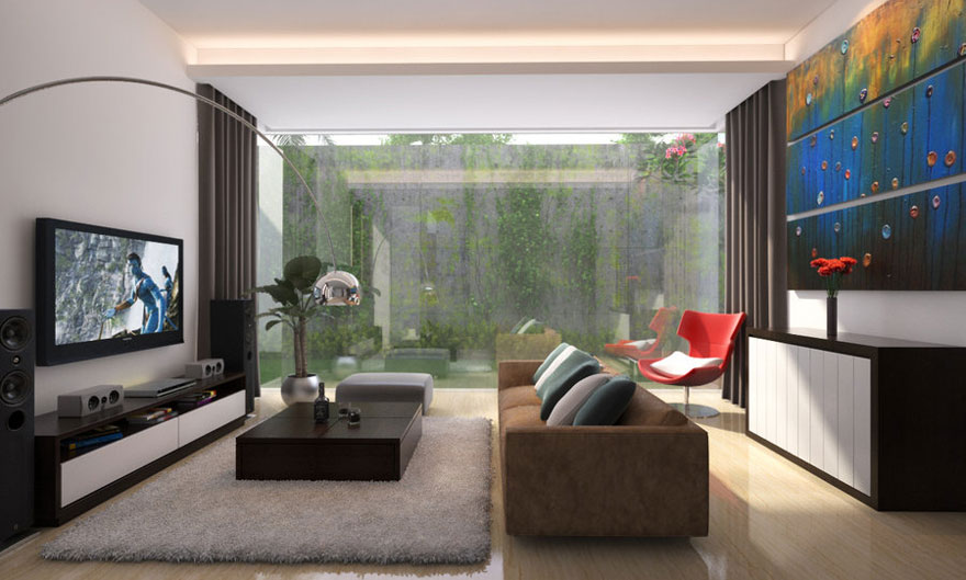 Living Room with Glass Door Courtyard View