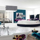 Luxury Bed and Bathtub in One Space with White Rugs Design