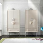 Luxury White Wardrobe with Handle by Swarovsky Crystals