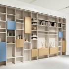 Minimalist Blue and Wood Shelves Furniture