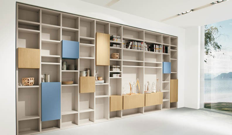 Minimalist Blue and Wood Shelves Furniture