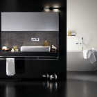 Minimalistic White Bathtub in Black Bathroom Design Inspirations