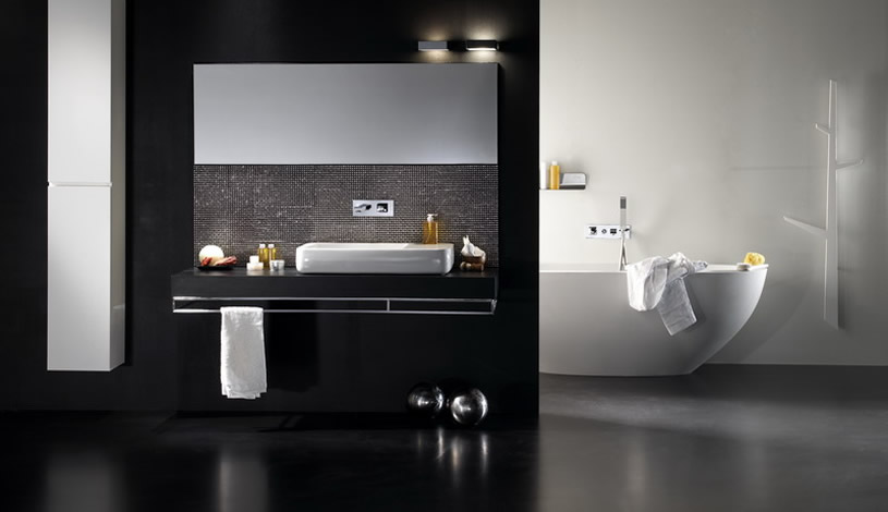 minimalistic white bathtub in black bathroom design