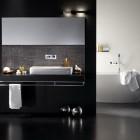 Minimalistic White Tub in Black Bathroom Design Inspirations