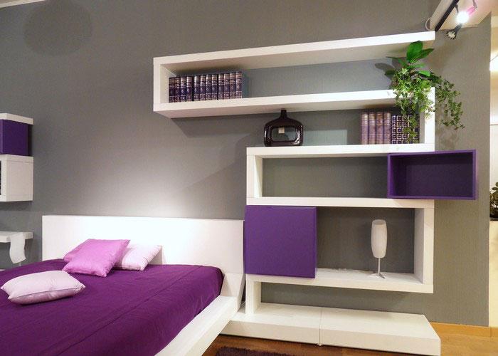 Modern Bedroom Design with Original Wall Shelves