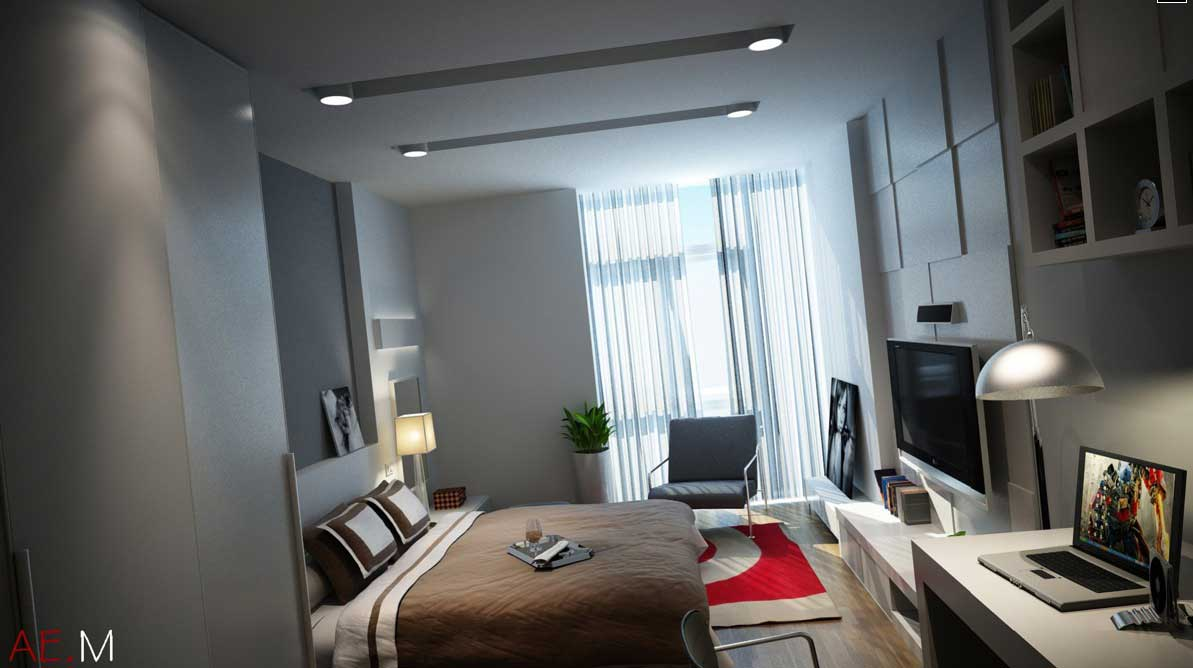 Modern Bedroom With Lcd Tv And Red Rugs By Hieu Nguyen