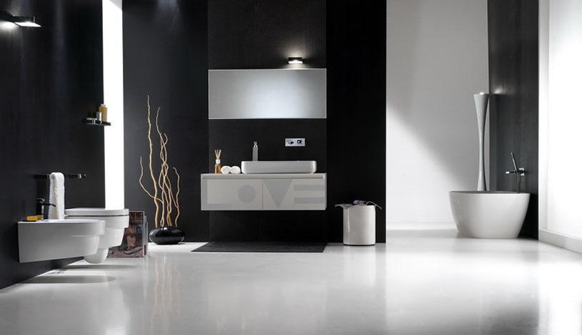 Modern black bathroom with white floor and accessories for Black and white bath accessories