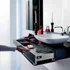 Modern Black Sink Design with Built in Storage Under it