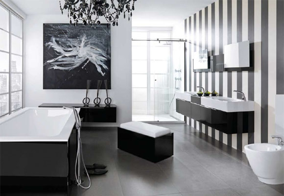 Modern Black And White Bathroom Inspirations With Striped Wall Interior Design Ideas