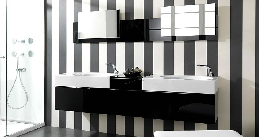 Modern Black and White Bathroom Sinks with Striped Wall