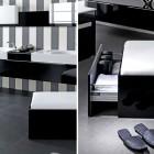 Modern Black and White Hidden Storage Bathroom Design
