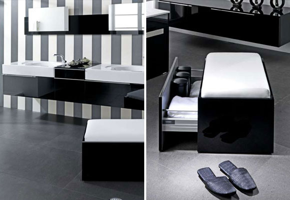Modern Black and White Hidden Storage Bathroom Design