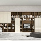 Modern Brown and Cream Shelves with TV Stand