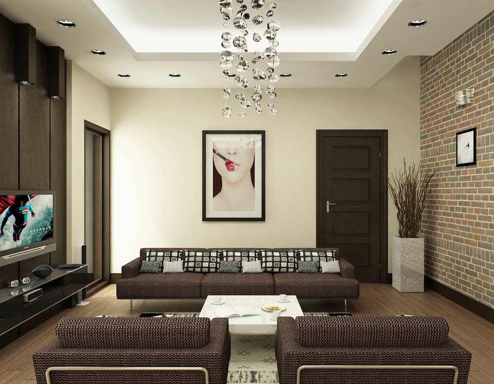 Modern brown and white living room with brick wall decor for Contemporary white living room design ideas