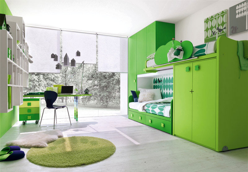 Modern Green Kids Room with Study Desk and Glass Wall