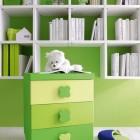 Modern Green and White Bookshelves in Kids Room