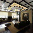Modern Japanese Style Living Room with Japanese Style Ceiling and Bonsai Decor