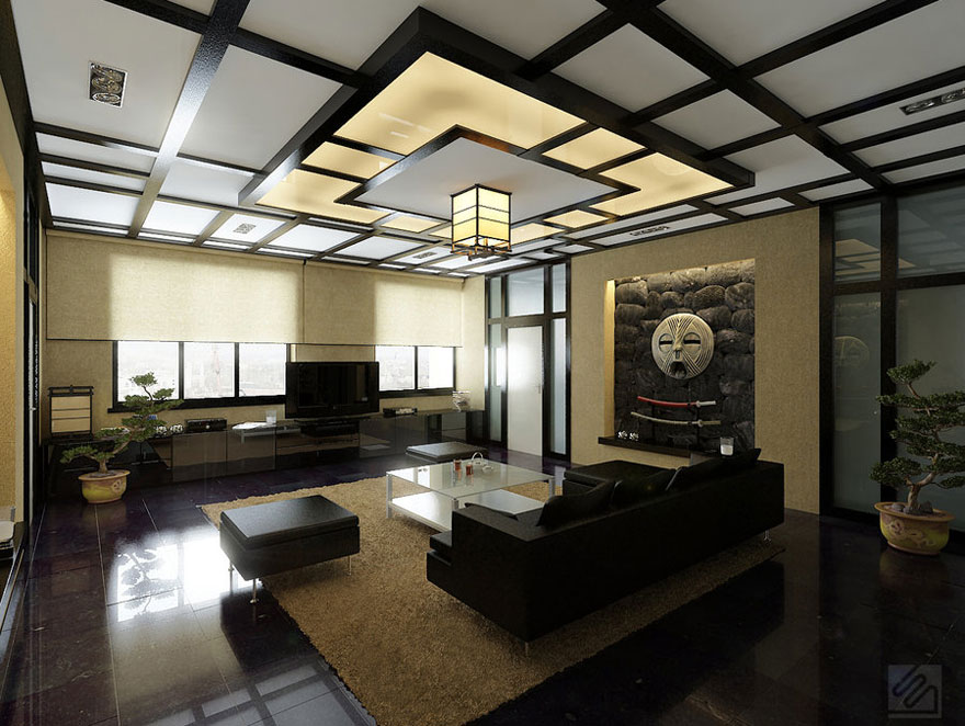 Modern japanese style living room with japanese style for Asian living room designs