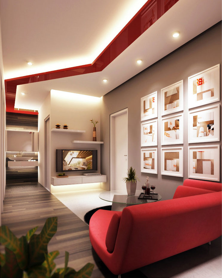 Modern Living Room Combines White and Red Ceiling Vibe