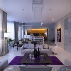 Modern Marble Living Room with the Pops of Purple and Yellow Color