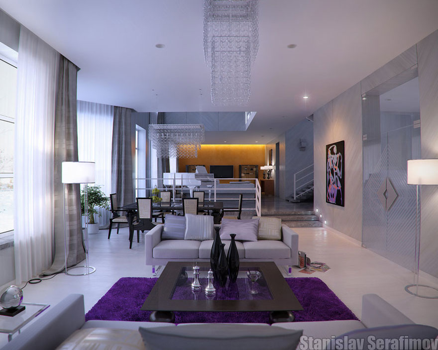 modern marble living room with the pops of purple and