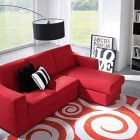 Modern Red Sofa in Living Room with Square Rugs