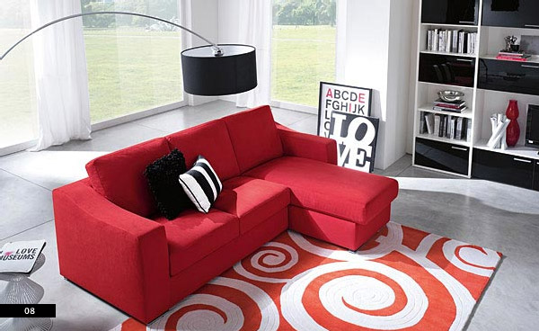 Modern red sofa in living room with square rugs interior design ideas for Modern red living room furniture