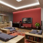 Modern Red and Denim Living Room Decorations