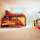 Modern Red and Yellow Bunk Beds with Study Desk