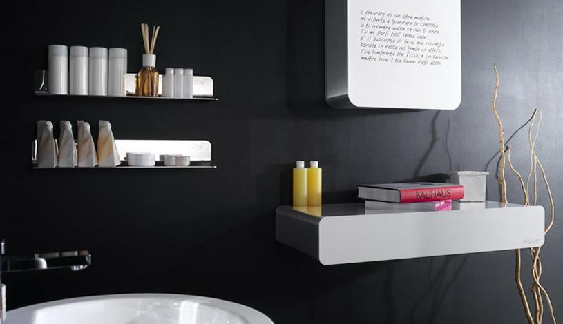 Modern Wall Unit Decorations in Black Bathroom Designs