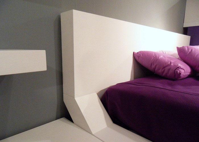 Modern White Bedroom Furniture on Purple