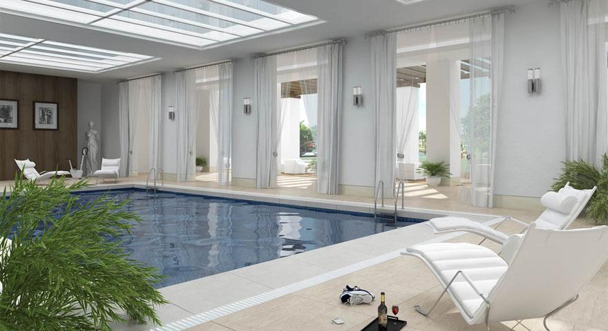 Modern White Indoor Pools Design Ideas