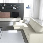 Modern White Sofa with Living Room Black Wall