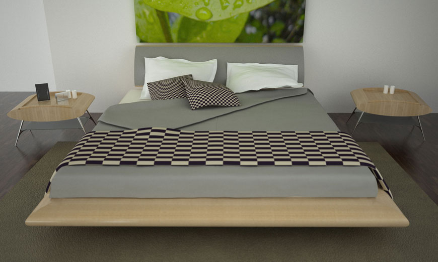 Modern and Elegant Bedroom with Black White Tile Bed Cover