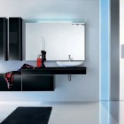 Onyx Modern Black Bathroom Furniture with Large Mirror and Black Rug