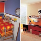 Orange Polka dot Bunk Beds