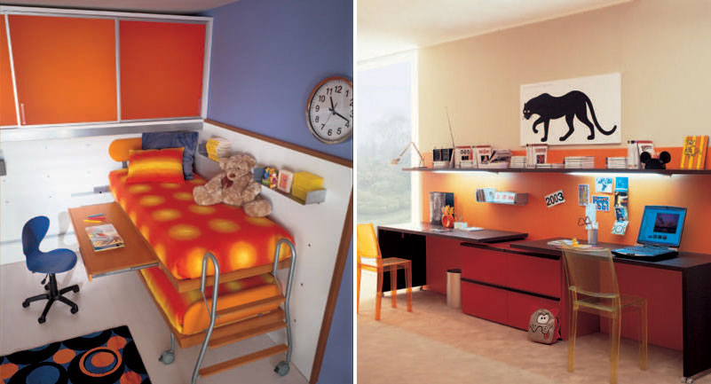 Orange Polka dot Bunk Beds